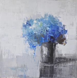 Blue Hydrangeas in Silver