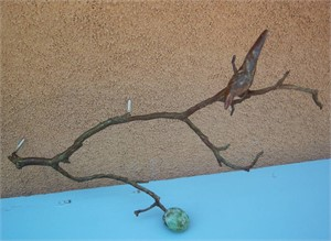 Wall Branch with 1 Bird & Fruit, brown