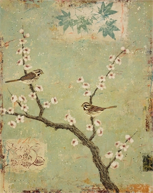 Song Sparrows With Blossoms by Paul Brigham