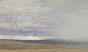 View to the South with Coming Rain by David Grossmann
