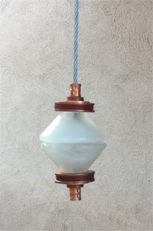 Hanging Totems - Single Diamond -  Frost & Copper Cast Glass
