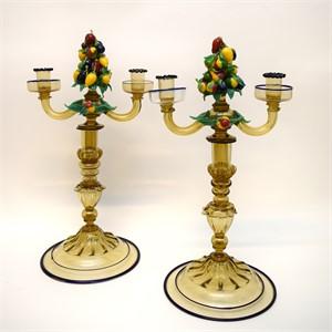 PAIR OF ITALIAN GLASS TWO-LIGHT CANDELABRA, Italian, 20th century