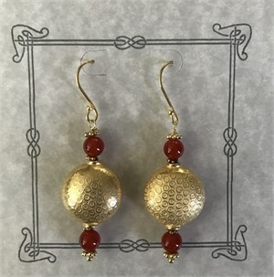 Earring - Carnelian & Gold Vermeil  #8020, 2019