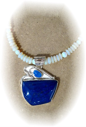 Smaller Lapis + Opal on Light Opal Beads