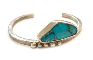 Bracelet - Sterling Silver Square Wire Cuff w/ Turquoise #3, 2019