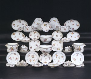 84-PIECE SEVRES PORCELAIN PART DINNER SERVICE, French, circa 1756-1791