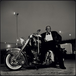 97055 B.B. King on Motorcycle BW, 1997