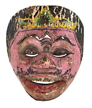 Mask, round eyes pink & black, 19th Century