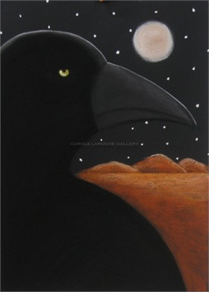 "MIDNIGHT RAVEN - limited edition giclee on paper w/frame size of 40""x32"" or limited edition giclee on canvas 38""x28""  $2200"
