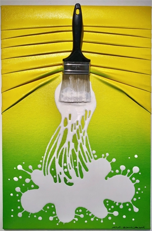 """""""Let's Paint"""" small, White splash on Yellow/Green, 2019"""