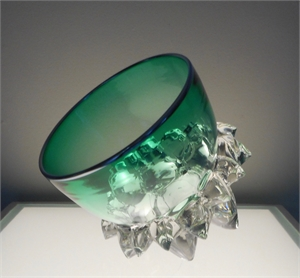 Small Thorn Vessel XIII (Green/Silver) by Andrew Madvin
