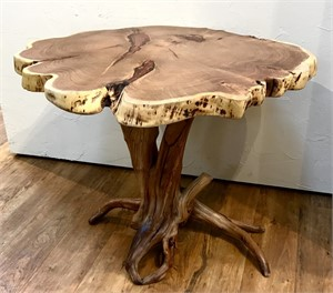 Bar Table - Mesquite Top with Copper Inlay, Desert Lilac Base, 2019