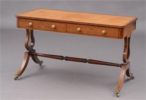 FINE REGENCY HARDWOOD INLAID LIBRARY TABLE, English, circa 1810