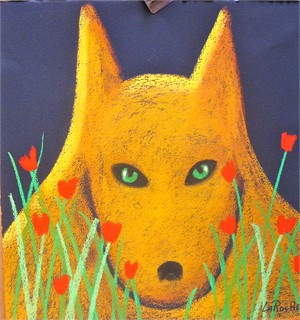 Yellow Wolf and Tulips - SOLD available for commission