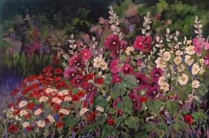 Hollyhock Field by Cathie Thompson