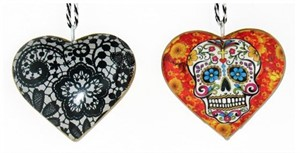 "Ornament - 4"" Heart With Skull & Marigold"