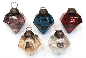 "Ornament - 2.5"" Diamond Crackle - Assorted Colors"