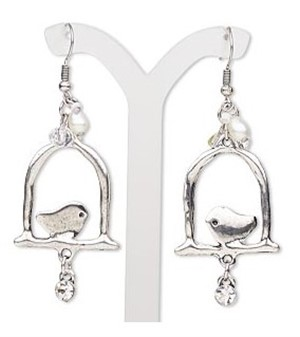 Earrings - Bird on Perch w/Charms