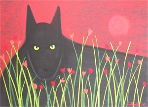 Wolf and Red Moon - SOLD available for commission