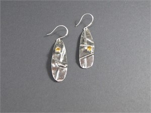 Earrings - Fold formed sterling silver set with 5mm citrine cz  AS 021, 2018