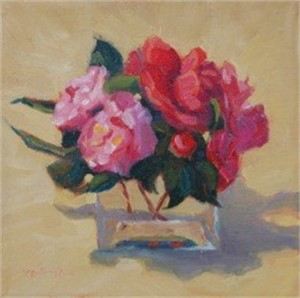 Square Vase and Camellias