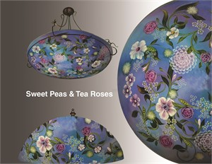 "Display Lamp-Sweet Peas and Tea Roses 13""  #2 Base - S"