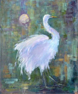 Great Egret and Moon