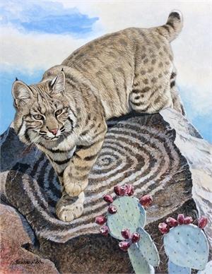 On the Rock - (depicting Hohokom petroglyph of Universal Spiral on Signal Mt. near Tucson), 2019