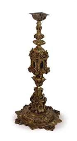 CONTINENTAL GILT-METAL CATHEDRAL TORCHERE, Continental, late 19th century