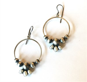 Earrings - Med Hoops with Sterling Silver Beads and Freshwater Pearls