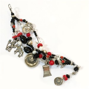 KY1287C - Four strand vintage charms onyx, rock crystal & coral, 2019