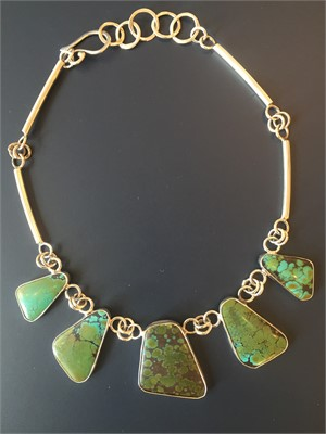 Sterling Tibetan Turquoise Link Necklace