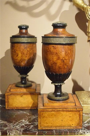 PAIR OF GERMAN WALNUT URNS, German, 19th century