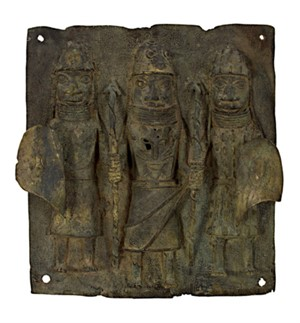 King with Two Tribesmen Nigeria-Benin Tribe, c.1910