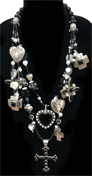 KY1282C-Triple Strand Necklace with Black onyx, mother of pearl, freshwater pearls, white jade and sterling