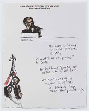Officer of the Court (Courtroom Print #3) (16/20), 2016