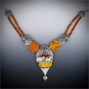 Necklace - WILD HORSES AT SUNSET - Wild Horses at sunset. A herd of wild horses run along orange magnesite slabs, suspended by sterling Navajo button clusters and apple coral roundels.  31907, 2019