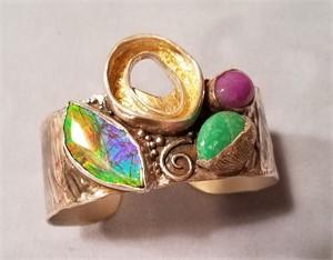Bracelet - Cuff With Amerhyst, Varacite, Ammolite in Sterling & Fine Silver  #2604, 2019