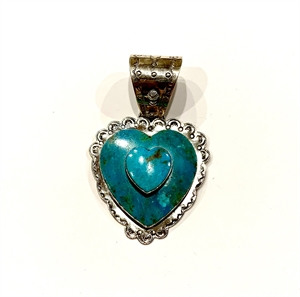 Pendant - Large Double Turquoise Heart with Silver Surround