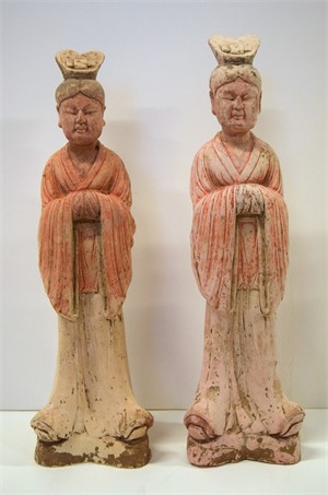 PAIR OF PAINTED POTTERY FIGURES OF COURT OFFICIALS, Tang Dynasty (618-906)