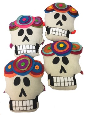Pillow - Assorted Colors Canvas - Hand painted and sewn - Calavera Piquito (small skull)