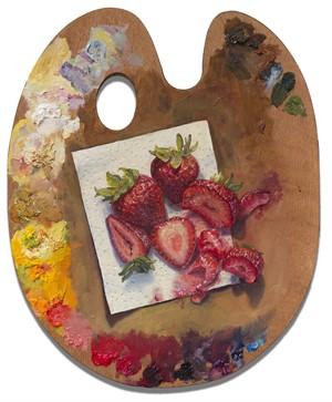 Strawberries on Napkin on Palette