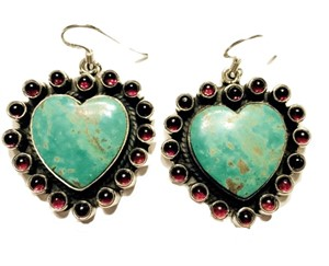 Earrings - Turquoise Heart with Garnet Surround