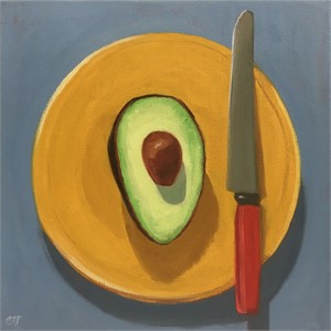 Avocado with Red Knife