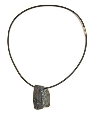 Necklace - Black Latex Cable w/Oxidized Textured Rectangles #16, 2019