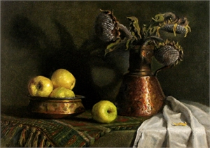 "NATALIA I CLARKE, ""Still Life with Apples and Dry Sunflowers"""