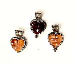 Pendant - Sterling Silver & Spiny Oyster Heart