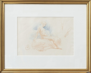 Nude Study w/ two hands holding mirror, signed A.B., c1915