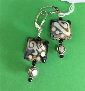 Earrings - Lampwork Beads  With Black Onyx & Sterling   #686, 2020