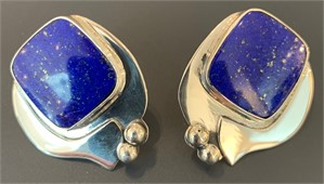 Sterling Lapis Post Earring
